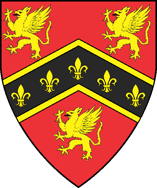 [Gules, on a chevron sable fimbriated between three gryphons five fleurs-de-lys Or]
