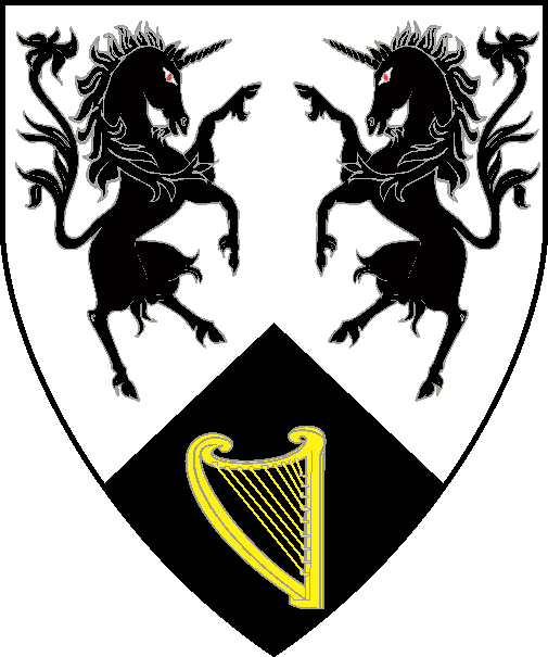 [Argent, two unicorns combattant and on a point pointed sable, a harp Or]