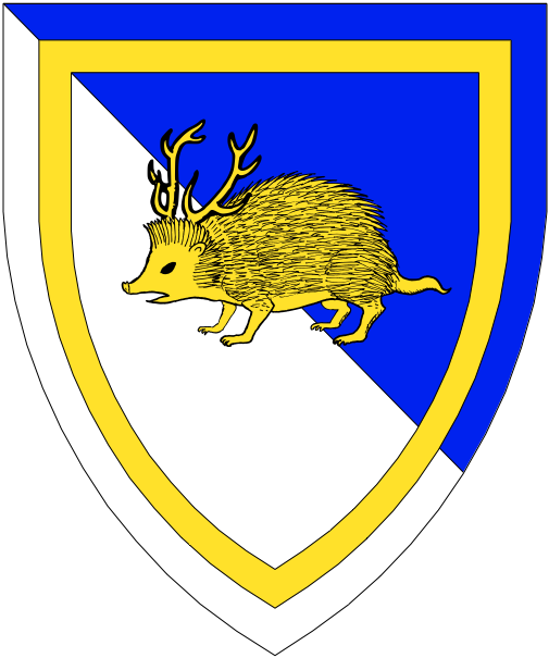 [Per bend azure and argent, a hedgehog attired within an orle Or.]