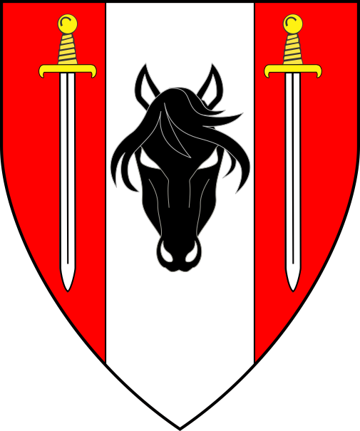 [Gules, on a pale argent between two swords inverted proper a horse's head cabossed sable]
