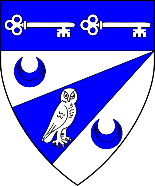[Argent, on a pile bendwise sinister throughout issuant from base between two crescents azure, an owl statant to sinister argent, as an augmentation on a chief azure, two keys fesswise reversed in fess argent]
