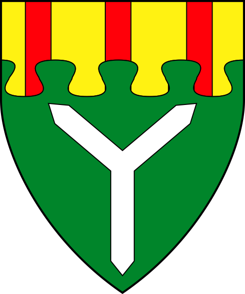[Vert, a shakefork argent, on a chief nebuly Or three pallets gules]