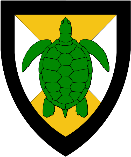 [Per saltire Or and argent, a natural sea-tortoise vert and a bordure sable.]