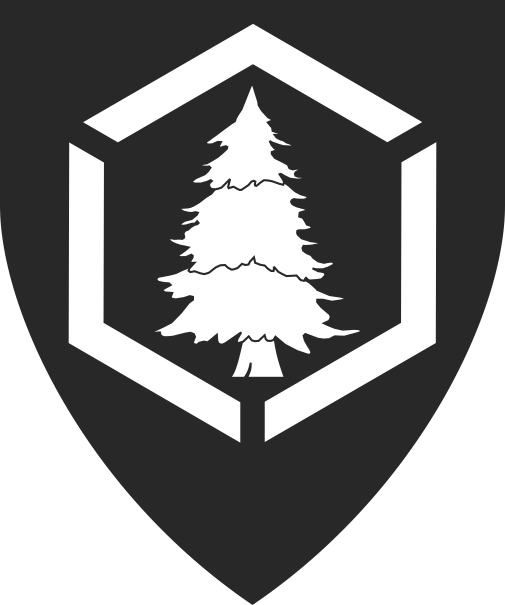 [Sable, a pine tree within a hexagon voided and fracted per pall, argent.	  ]