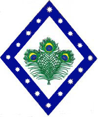 [Argent, three peacock feathers conjoined in pile proper, a bordure purpure mullety of eight points argent.      ]