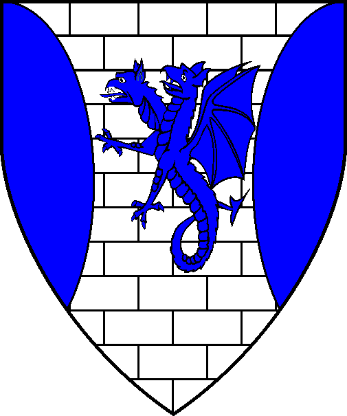[Argent, masoned sable, a two-headed wyvern erect, tail nowed, between two flaunches azure]