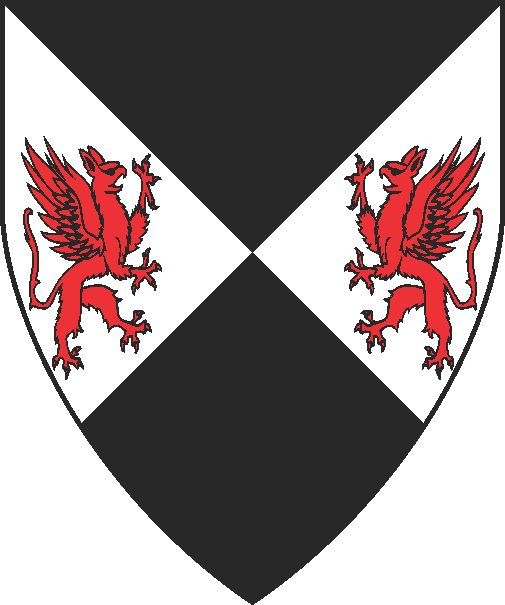 [Per saltire sable and argent, in fess two gryphons combattant gules]