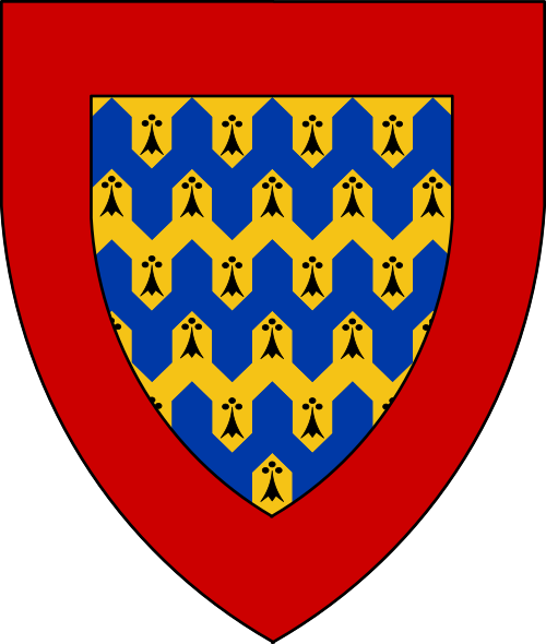 [Vairy en point erminois and azure, a bordure gules]