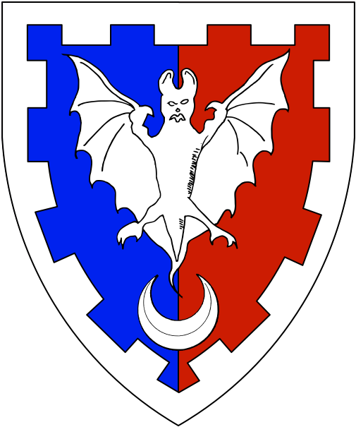 [Per pale azure and gules, a reremouse and in base a crescent within a bordure embattled argent.]