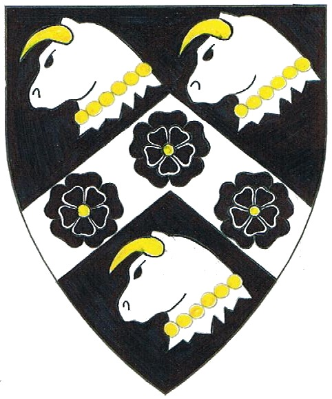 [Sable, on a chevron between three bull's heads erased argent armed and gorged of a strand of pearls Or, three double roses sable  ]