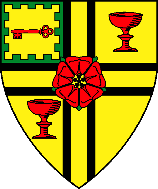 [Or, a cross voided sable surmounted by a rose gules barbed and seeded proper, between two goblets in bend sinister gules, augmented with a canton of Or, a key fesswise gules within a bordure embattled vert]