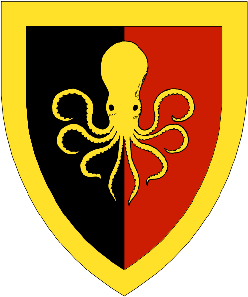 [Per pale sable and gules, a polypus within a bordure Or.]