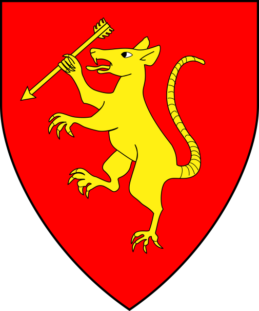 [Gules, a rat rampant maintaining an arrow bendwise sinister Or]