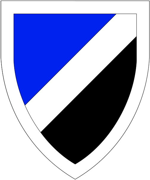 [Per bend sinister azure and sable, a bend sinister and a bordure argent.]