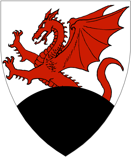 [Argent, a demi-dragon gules issuant from a mount sable.]
