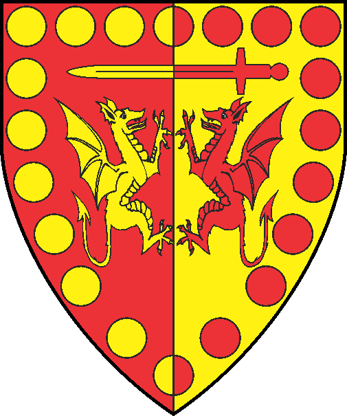 [Per pale gules and Or, two dragons combatant and in chief a sword fesswise, all within an orle of roundels counterchanged]