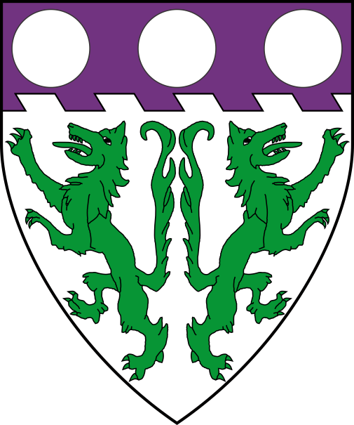 [Argent, two wolves rampant addorsed vert, on a chief raguly purpure three plate]