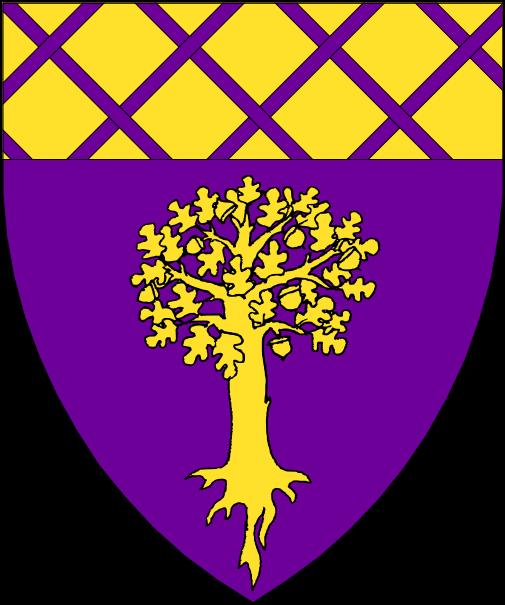 [Purpure, a tree eradicated Or and a chief Or fretty purpure.]