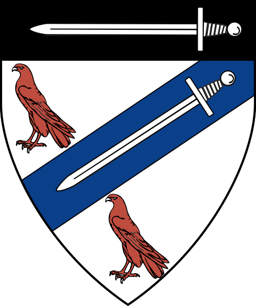 [Argent, on a bend sinister azure between two brown hawks proper a sword inverted argent and on a chief sable a sword argent]