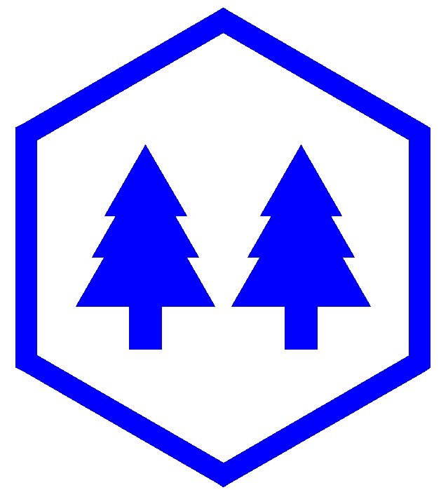 [Argent, in fess two pine trees couped within a hexagon voided azure.