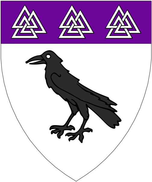 [Argent, a raven sable and on a chief purpure three valknuts argent.]