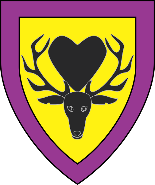 [Or, between the attires of a stag's head cabossed a heart sable, a bordure purpure]