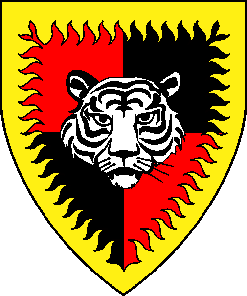 [Quarterly gules and sable, a natural tiger's face argent marked sable, a bordure rayonny Or]