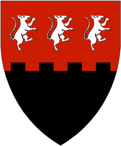 [Per fess embattled gules and sable, in chief three rats rampant contourny argent.]