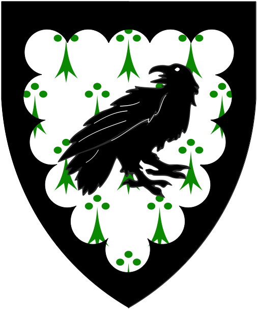 [Argent ermined vert, a raven contourny reguardant and a bordure engrailed sable.]
