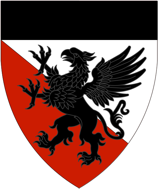 [Per bend argent and gules, a griffin and a chief sable.]
