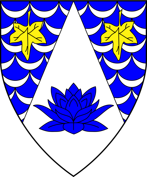 [Per chevron throughout azure scaly argent and argent, two ivy leaves inverted Or and a lotus blossom in profile azure]