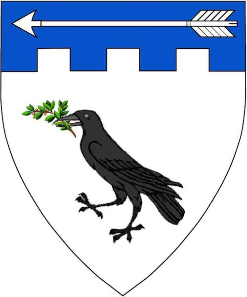 [Argent, a raven sable maintaining in its beak a sprig vert, on a chief embattled azure an arrow reversed argent.]