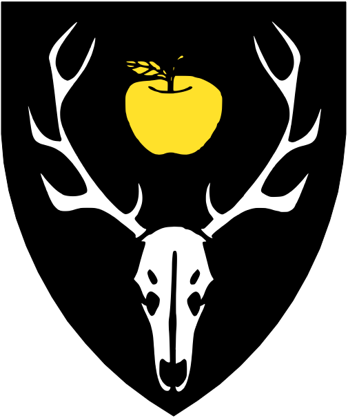 [Sable, between the attires of a stag's skull argent an apple Or.]