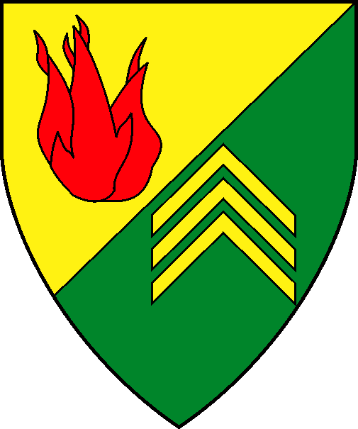 [Per bend sinister Or and vert, a flame gules and three chevronels in pale couped palewise Or]