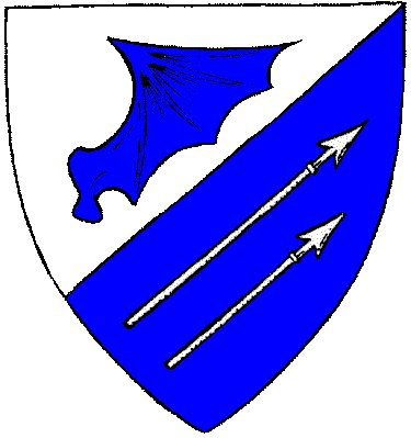 [Per bend sinister, argent a sinister dragon's wing erased azure, and azure a pair of spears bendwise sinister argent.	  	  ]