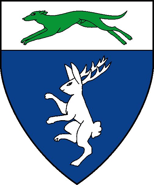 [Azure, a rabbit rampant attired, on a chief argent a greyhound courant vert]