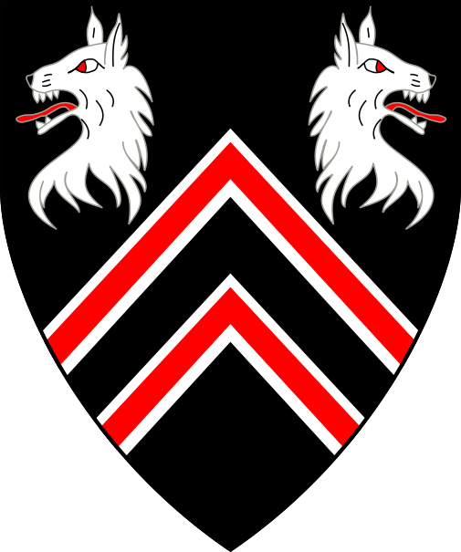 [Sable, two chevronels gules fimbriated, in chief two wolf's heads erased addorsed argent]