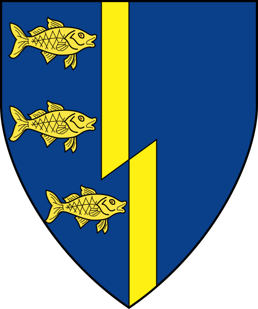 [Azure, a pale bevilled and in dexter three fish naiant contourny in pale Or    ]