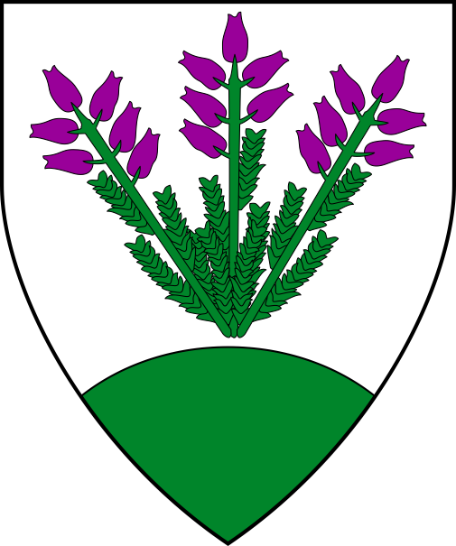 [Argent, in pile three sprigs of heather vert flowered purpure conjoined in base, a mount vert.]