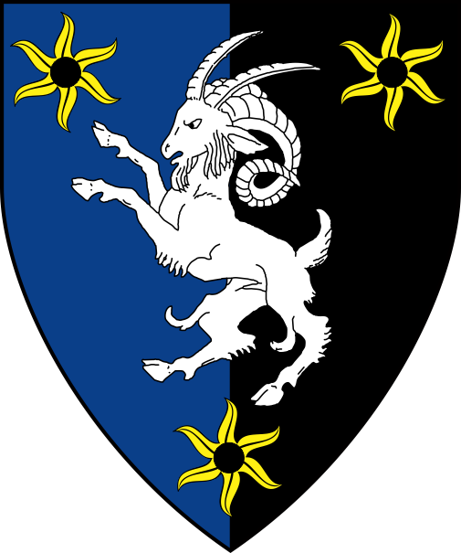 [Per pale azure and sable, a musimon rampant argent between three estoiles pierced Or]