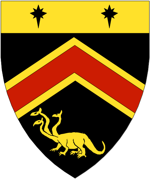 [Sable, a chevron gules fimbriated and in base a three-headed wingless hydra statant, on a chief Or two compass stars sable.]