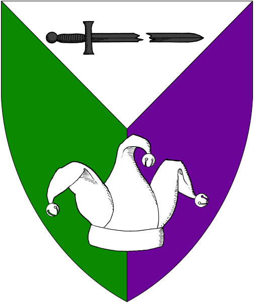 [Per pall argent, vert and purpure, in pale a fracted sword fesswise reversed sable and a jester's cap argent.]
