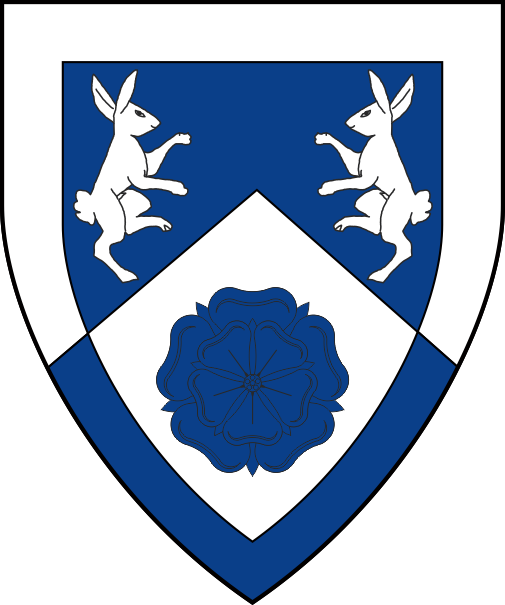 [Per chevron azure and argent, two rabbits combatant and a rose within a bordure counterchanged]