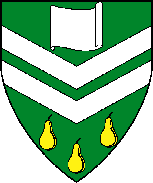 [Vert, two chevronels inverted between a open scroll fesswise argent and three pears Or]