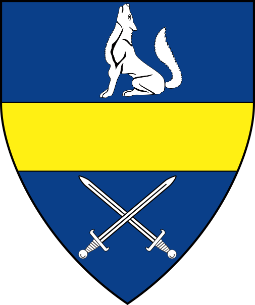 [Azure, a fess Or between a wolf sejant and two swords in saltire argent]