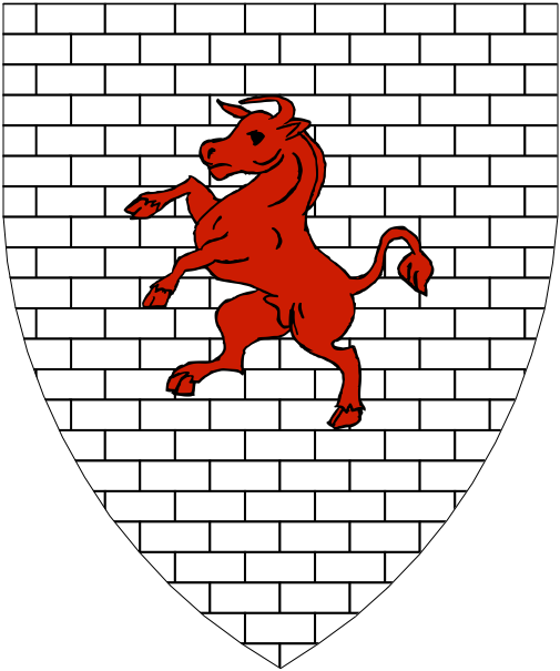 [Argent masoned sable, a bull rampant gules.]