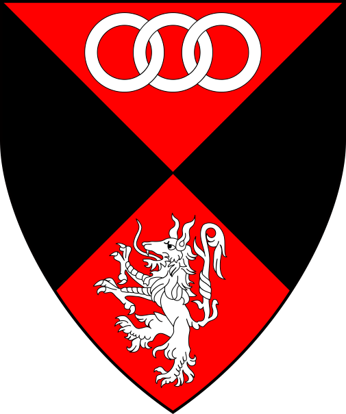 [Per saltire gules and sable, an alphyn rampant and in chief three annulets interlaced in fess argent]