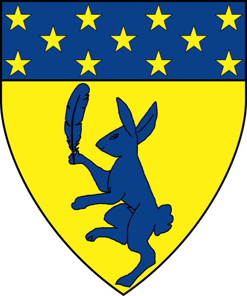 [Or, a rabbit rampant maintaining a feather azure, a chief azure mullety Or]