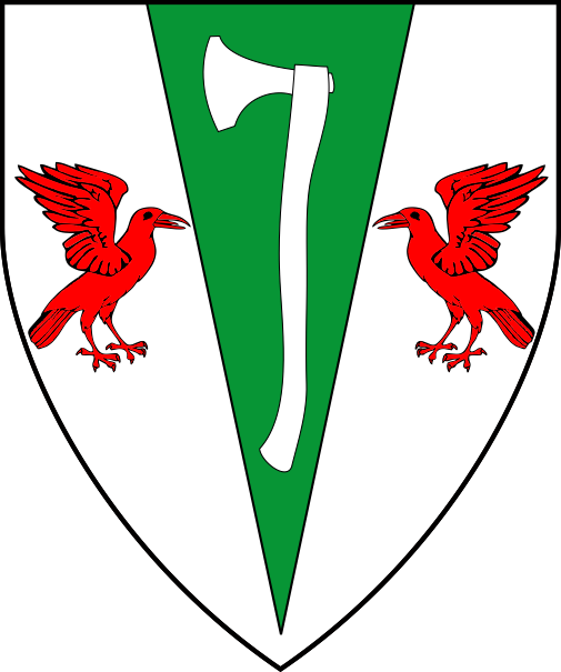 [Argent, on a pile vert between two ravens rising respectant gules an axe argent]