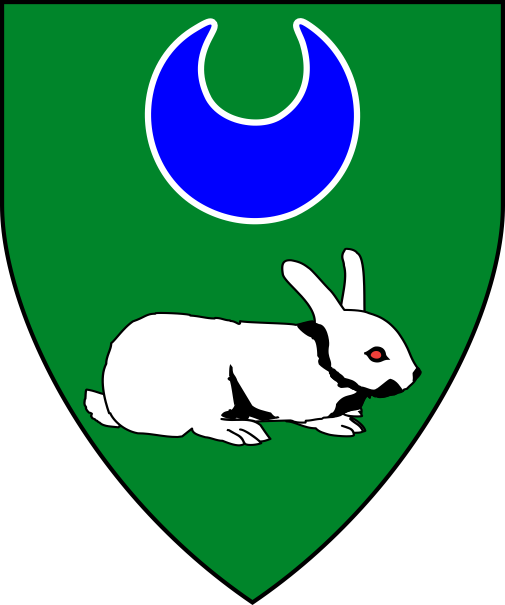 [Vert, in pale a crescent azure fimbriated and a coney dormant to sinister argent  ]